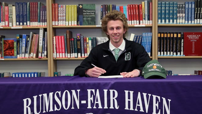 Rumson-Fair Haven boys basketball player Brendan Barry announced his college choice, Dartmouth College in front of family and friends at Rumson-Fair Haven High School  on Thursday April 28, 2016
