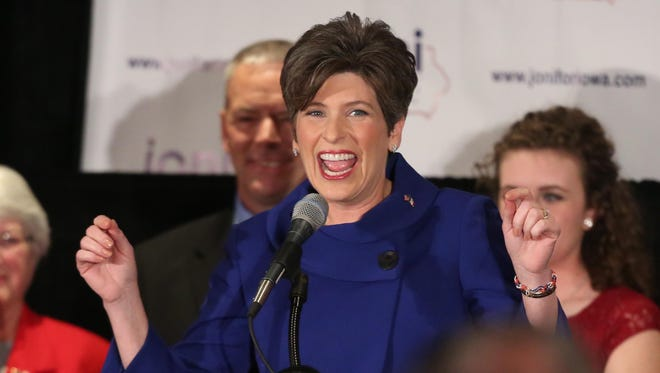 Joni Ernst, now Iowa's junior senator, thanks supporters in West Des Moines on Nov. 4, 2014, after defeating Democrat Rep. Bruce Braley for the Senate seat of Tom Harkin.