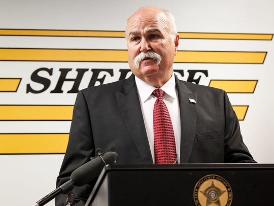 Butler County Sheriff Richard Jones conducts a press
