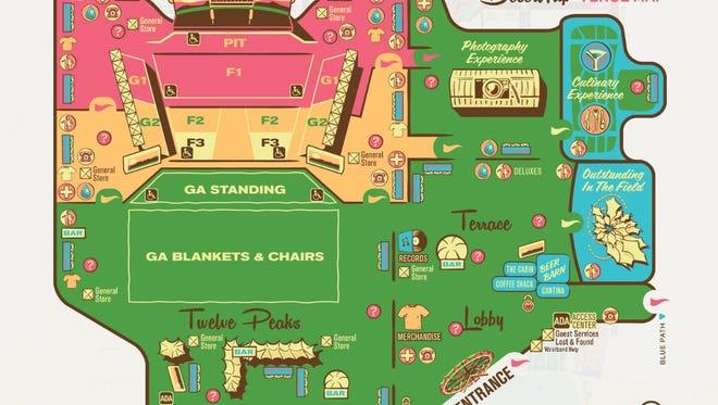 A map of the Desert Trip venue.