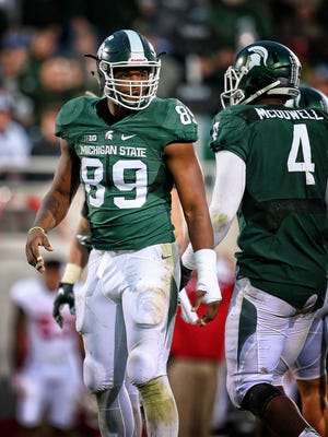 MSU is missing Shilique Calhoun's voice and pass rushing this season. Once Calhoun's sidekick, Malik McDowell (4) doesn't fit the leading role on MSU's defensive line quite as well.
