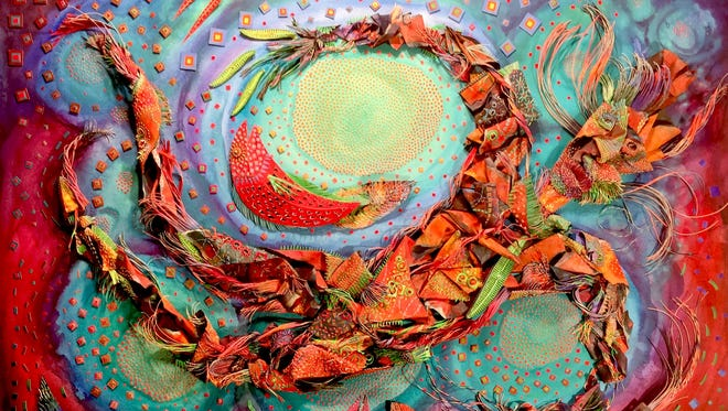 Second place winner, Beth Appleton's three-dimensional, layered collages often reflect upon her upbringing and life in coastal Florida.