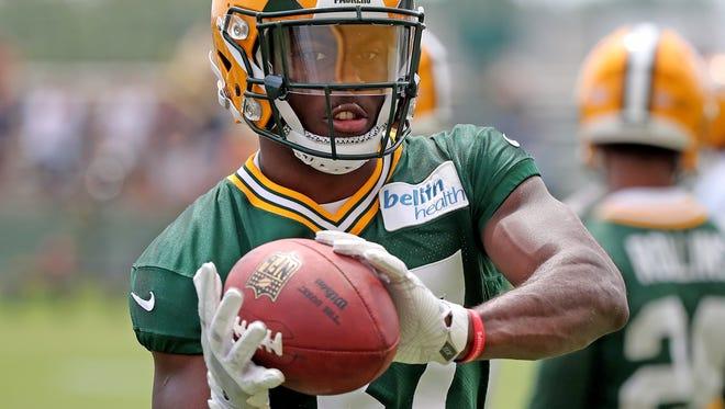 Green Bay Packers defensive back Josh Jackson (37) during Green Bay Packers minicamp at Ray Nitschke Field Tuesday, June 12, 2018 in Ashwaubenon, Wis.
