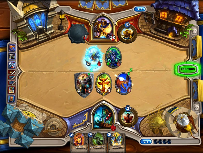 A screenshot of a match in 'Hearthstone: Heroes of Warcraft.'