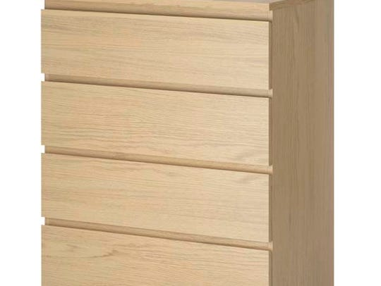 IKEA MALM 4-drawer dresser is a tip-over hazard for
