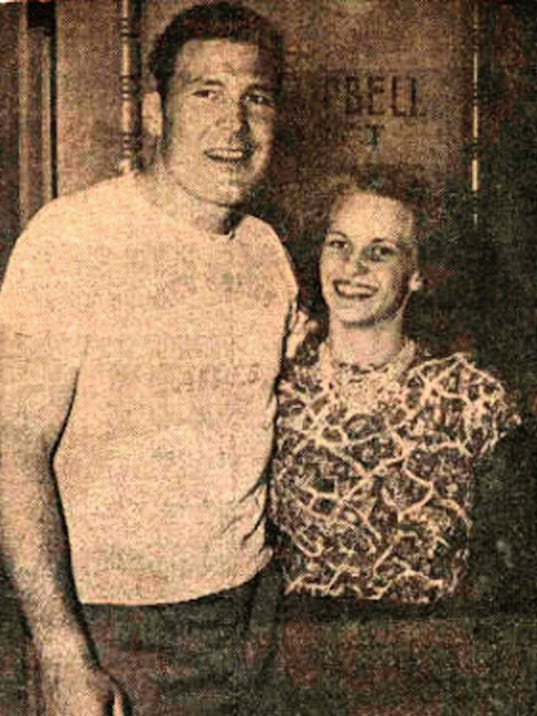 """Pittsburgh Steeler Jerry Nuzum and his wife, Mary, in 1949 after the Doña Ana county district attorney """"cleared"""" him in the murder of Ovida Coogler. Nuzum stood trial in her killing two years later."""