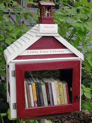 This Little Free Library was designed by Todd Bol in memory of his mother, Esther