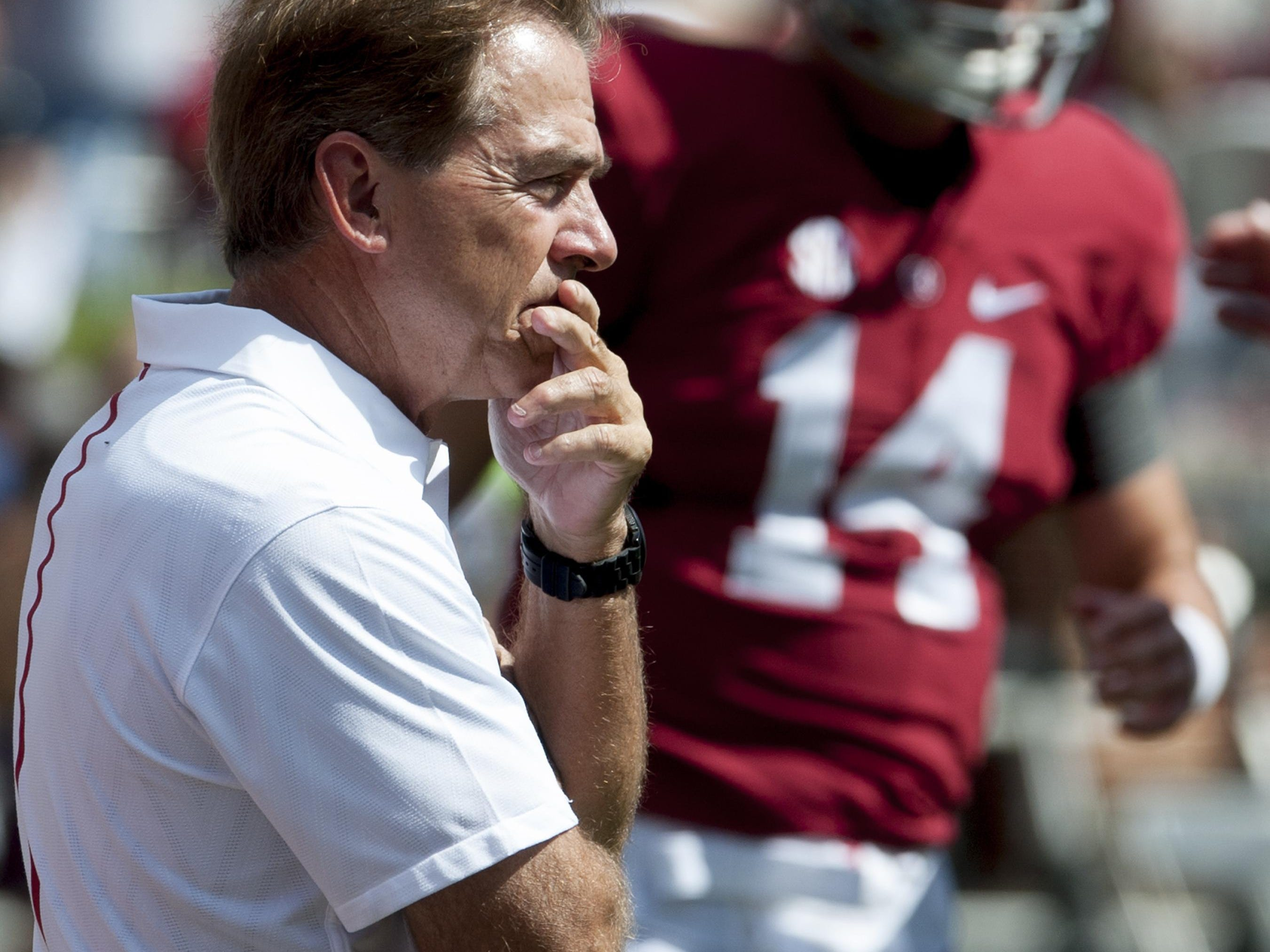 Alabama Coach Nick Saban before the Middle Tennessee game at Bryant-Denny Stadium in Tuscaloosa, Ala. on Saturday September 12, 2015. (Mickey Welsh / Montgomery Advertiser)