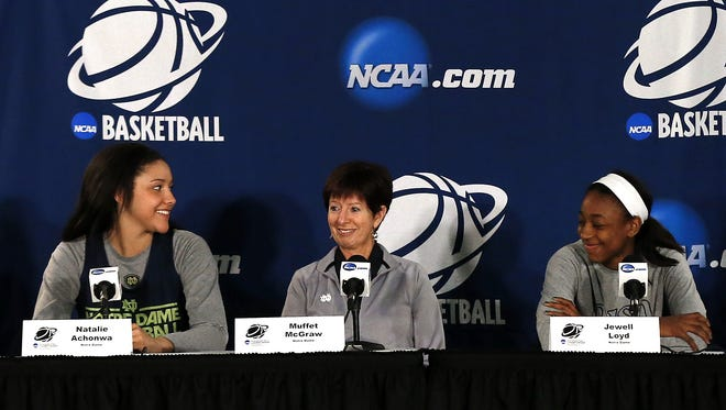 Notre Dame head coach Muffet McGraw, center, talks about their NCAA women's college basketball tournament regional final game against Baylor on Monday as Natalie Achonwa, left, and Jewell Loyd look on at the Purcell Pavilion in South Bend, Ind., Sunday, March 30, 2014.