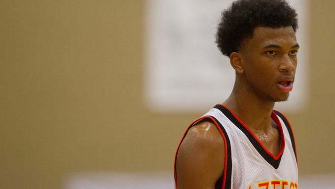 Corona del Sol's Marvin Bagley III waits for the game against Sierra Canyon to start during the Hoophall West basketball showcase at Chaparral High in Scottsdale on Jan. 3, 2015.