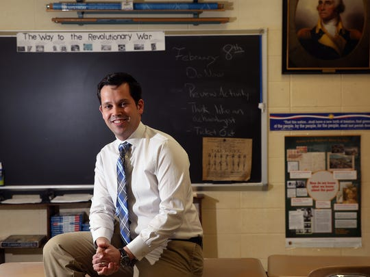 Jim Smith, a Jefferson Middle School history teacher was recently named 2016 Outstanding Teacher of American History Award for the State of New Jersey by The Daughters of the American Revolution.  February 8, 2017, Jefferson, NJ.