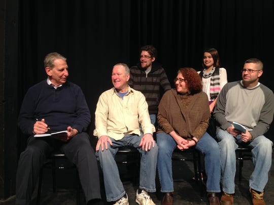 Assistant director Wiley Parker, left, has the attention of five first-time performers at Lebanon Community Theatre during a recent rehearsal: seated from left, John Butler, Yvonne Rulli-Butler and Ed Tadajweski; and standing, Jake Butler and Grace Tadajweski.