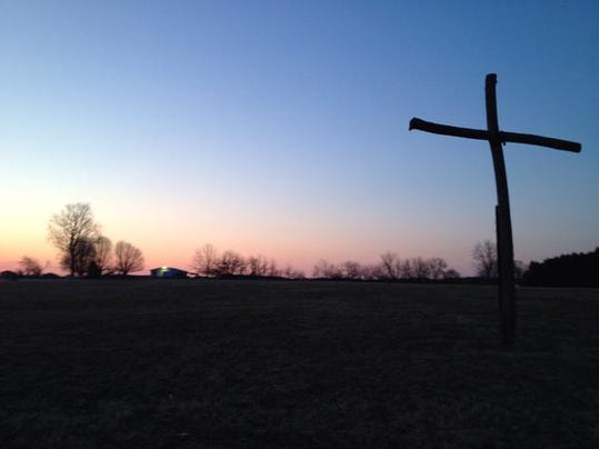 The sun rises over Hanover's Church of the Brethren Easter sunrise service.