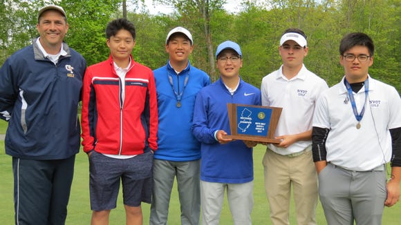 Northern Valley at Old Tappan won the North Group 3 sectional golf tournament. From left: Coach Tom Quinn, JJ Baek, Sam Yom, Chan Park, Ryan Travers and Ryan Lee.