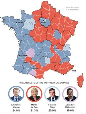 Graphic shows the final geographic results for France's 2017 presidential elections.
