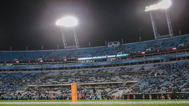 The stands are nearly empty during the fourth quarter of an NFL football game between the Los Angeles Chargers and Jacksonville Jaguars at TIAA Bank Field, Sunday, Dec. 8, 2019 in Jacksonville, Fla.