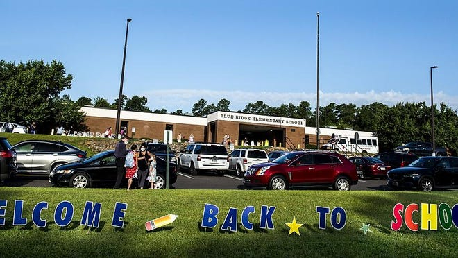 The first day back to school at Blue Ridge Elementary School in Evans, Ga., Monday morning, August 3, 2020.