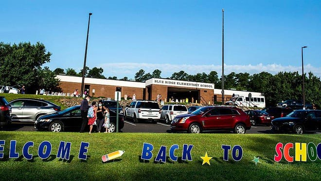 The first day back to school on Aug. 3 at Blue Ridge Elementary School in Evans.