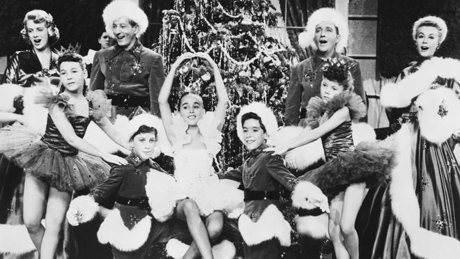 "One of the final scenes from ""White Christmas,"" shortly before the characters discover the snow drought is over and glittering flakes are falling outside."