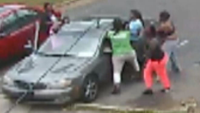 Surveillance image of incident that resulted in the hospitalization of Shayonna Jones.