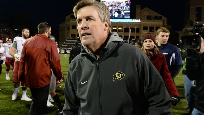 Nov 19, 2016; Boulder, CO, USA;  Colorado Buffaloes head coach Mike MacIntyre reacts following the win over the Washington State Cougars at Folsom Field. The Buffaloes defeated the Cougars 38-24. Mandatory Credit: Ron Chenoy-USA TODAY Sports