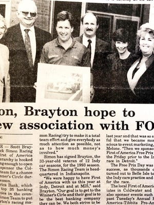 News about race car driver Scott Brayton, a Coldwater native, was often in The Daily Reporter.