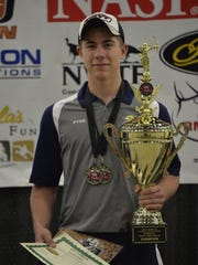 Garet Fyke won 3D at the National Archery Sports Program competition at the Louisville (Ky.) Exposition Center on Saturday.