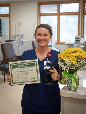 AdventHealth honors Jessica Shuford, BSN, RN, with The DAISY Award for her compassion in caring for patients.