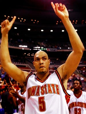Ames, Iowa, ranks 64th on a list by WalletHub, which  looked at how Iowa ranks compared to other cities for NBA and college basketball. Here in 2000, Marcus Fizer celebrates after Iowa State's 80-56 victory over UCLA that propelled the Cyclones into the NCAA men's Elite Eight.