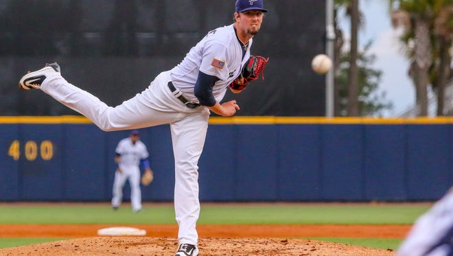 Blue Wahoos pitcher Deck McGuire throws against the Jackson Generals at Blue Wahoos Stadium on Monday, August 21, 2017.