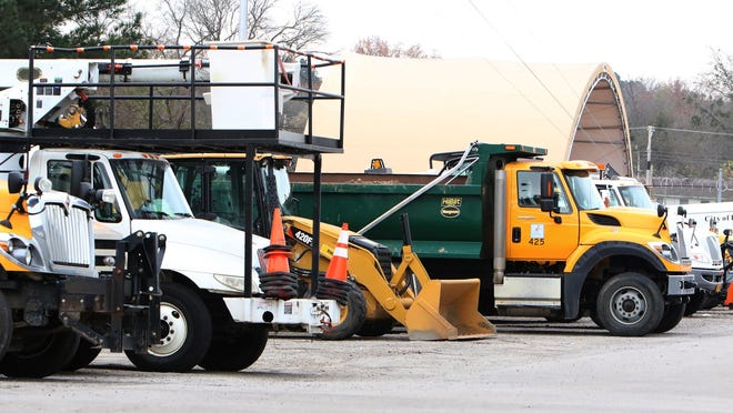 City of Fort Smith vehicles are seen lined up in the Kelley Highway facility on Saturday, Nov. 21, 2020.