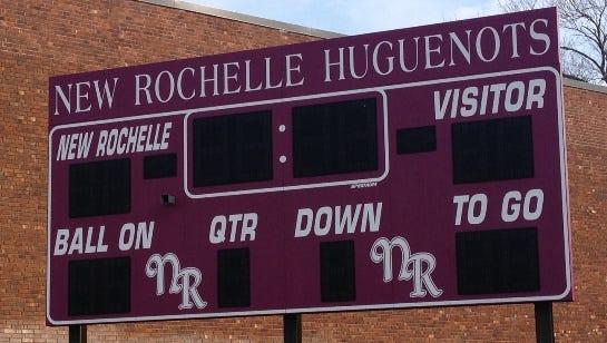 Scoreboard at New Rochelle High School.