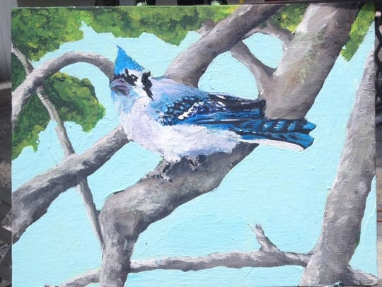 Blue jay painting -- since I had one screaming at me