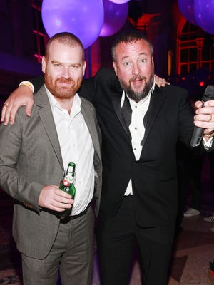Andrew Creighton, left, President of VICE Media Group and Shane Smith, Founder of VICE  pose for photos during the Vice.com Launch Party at Skylight One Hanson on September 15, 2011 in the Brooklyn borough of New York City.