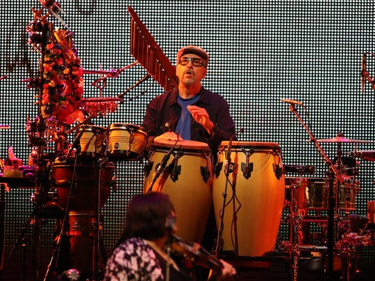 :Luis Conte plays percussion during the sold-out James