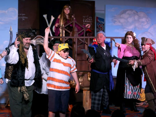 "Jeremy Jacob, played by Jack McLaughlin, meets a crew of pirates in Be Theatre's ""How I Became a Pirate,"" performed as part of the 2017 Literature Alive Project at Stephens Central Library on Thursday, Feb. 23."