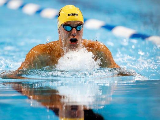 Josh Prenot in the men's 100-meter breaststroke semifinals