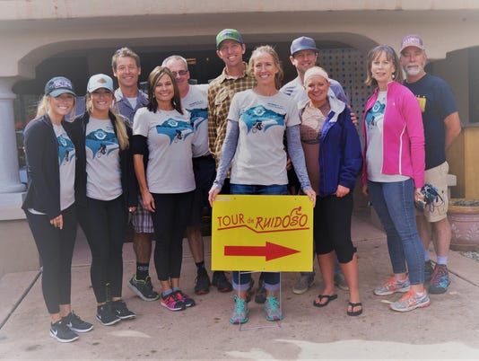 Bicycle Ruidoso members who sponsored the Annual Tour de Ruidoso Saturday. Left to right front row: Brooke Moebus, Alexis Moebus, Angela Moebus, Michelle Thurston, Nicole Bush, and Deb Douds. Left to right back row: Dale Moebus, Craig Maldonado, Cody Thurston, Aaron Bush, and George Douds.