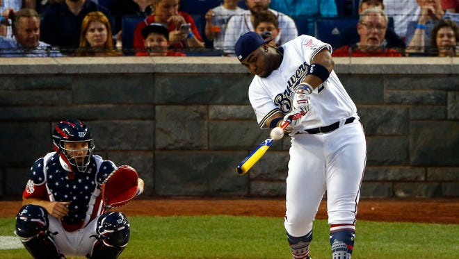 Brewers first baseman Jesus Aguilar takes a cut Monday night during home run derby at Nationals Ballpark.