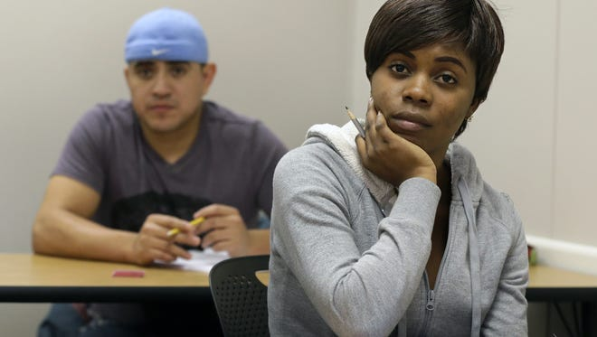 Giselle Kalamba participates in an English Language Learning for Occupations class at Fox Valley Technical College in Grand Chute. Kalamba is originally from the Congo and will be participating in the New Americans program, which is a collaboration of Fox Valley Technical College and  local employers to train African and Middle Eastern refugees to become CNAs.