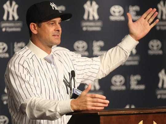 New Yankees manager, Aaron Boone speaks at a press conference at Yankee Stadium, Wednesday, December 6, 2017.