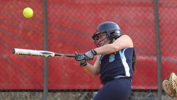 Suffern's Sam Iodice hits a single during a softball game at North Rockland April 14, 2013. Suffern won 10-6.