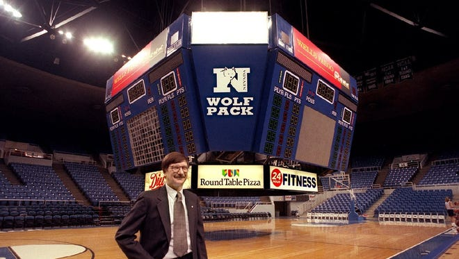 The Lawlor Events Center scoreboard, which was installed in 1998, shown above, is in need of an upgrade.