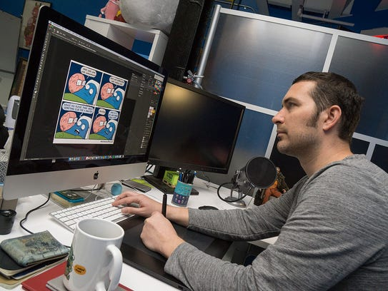 Nick Seluk's cartoons are drawn on a computer using