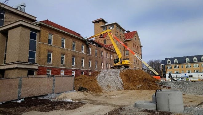 Part of the University of Iowa's Seashore Hall is being demolished in downtown Iowa City.