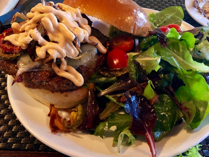 Spicy @$$ burger from the Rocky Hill Inn.