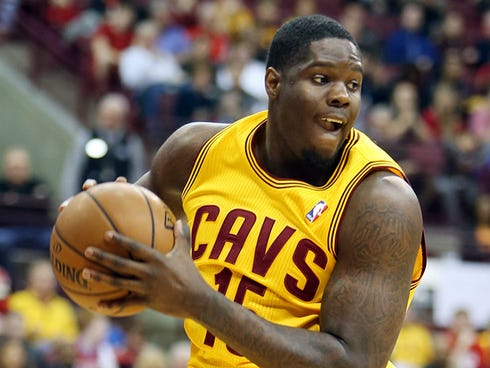 Oct 21, 2013; Columbus, OH, USA; Cleveland Cavaliers power forward Anthony Bennett (15) grabs a rebound against the Philadelphia 76ers during the first quarter at Schottenstein Center. Mandatory Credit: Ron Schwane-USA TODAY Sports