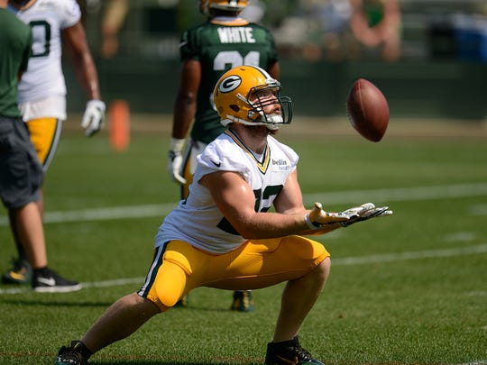 Green Bay Packers fullback Aaron Ripkowski works on special teams drills during training camp practice at Ray Nitschke Field on Saturday, Aug. 15, 2015.