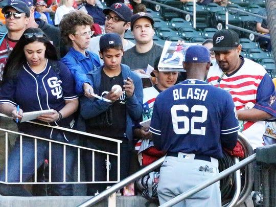 San Diego Padres outfielder Jabari Blash signs autographs for fans last year at Southwest University Park.
