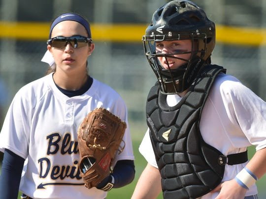Greencastle pitcher Ally Brown talks to catcher Mac Oberholzer during the James Buchanan game Thursday, April 14, 2016.